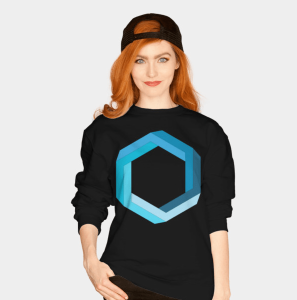 impossible geometry blue hexagon women's sweater