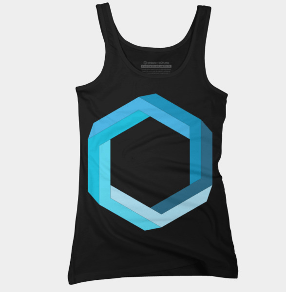 impossible geometry blue hexagon black tanktop