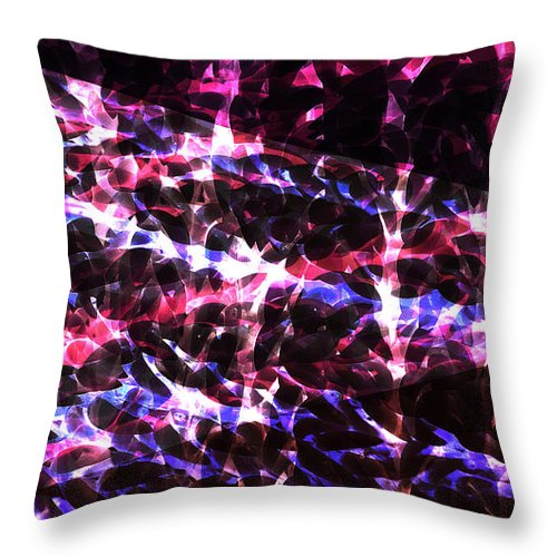 abstract neon blue and red design throw pillow