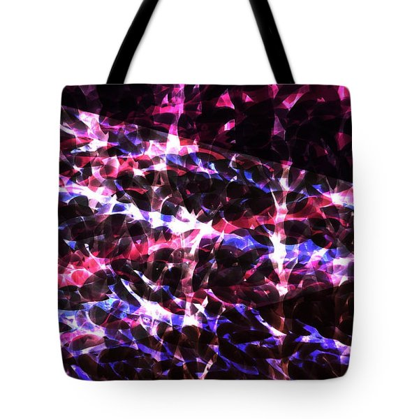 abstract red and blue tote bag