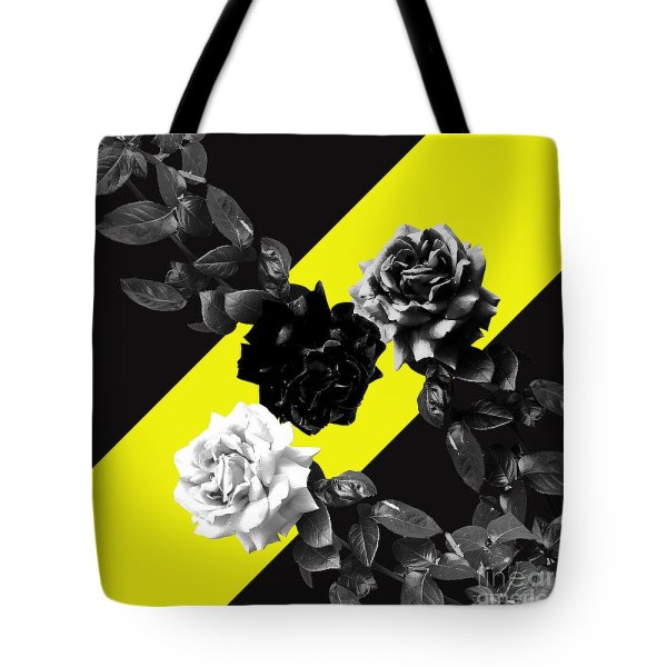 Monochrome roses on yellow tote bag