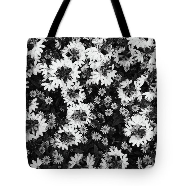 Black and white floral texture tote bag
