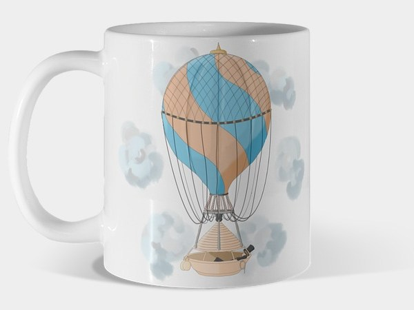 Vintage hot air balloon illustration mug