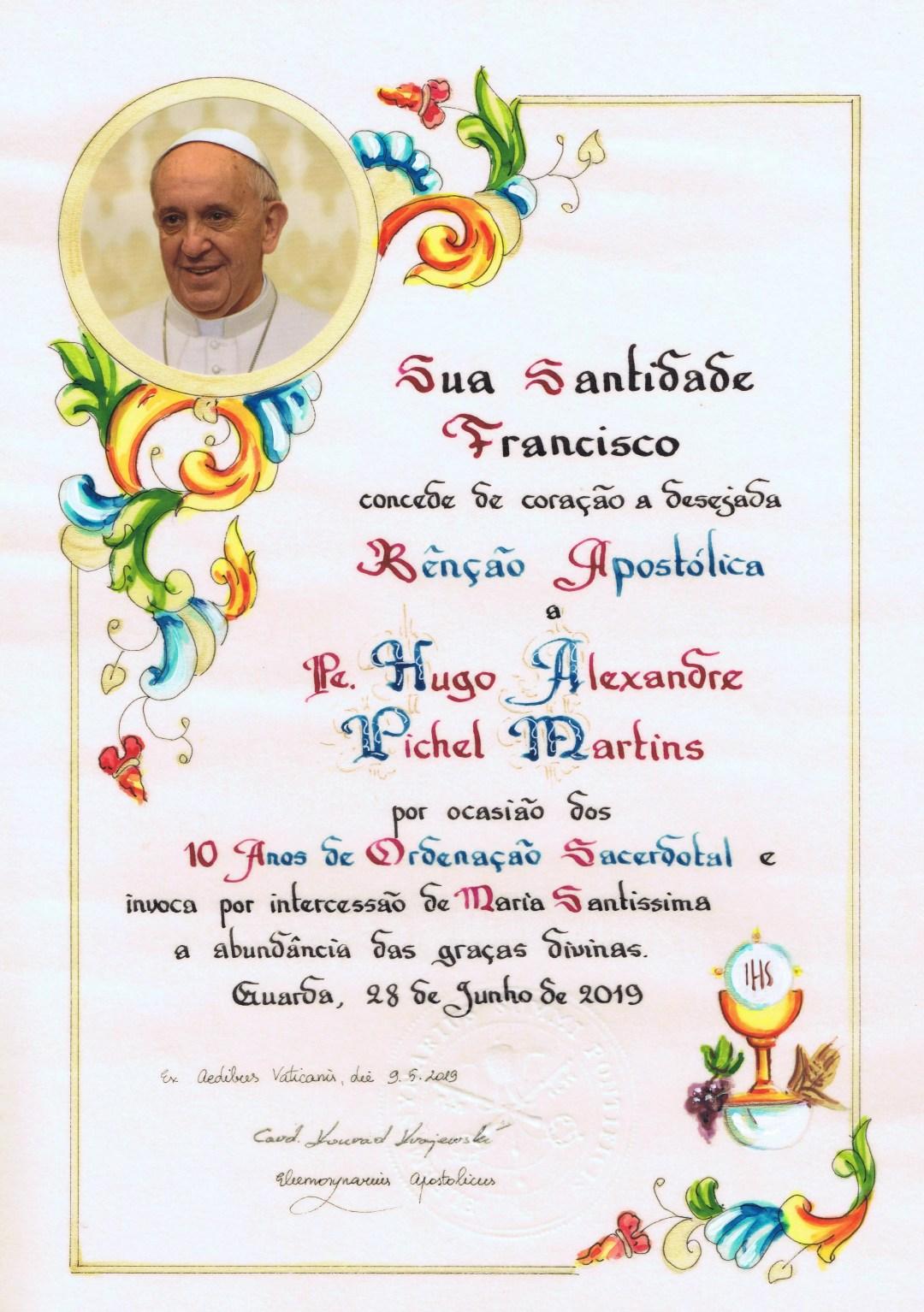 Papa Francisco: bênção pelo 10º Aniversário de Ordenação Sacerdotal