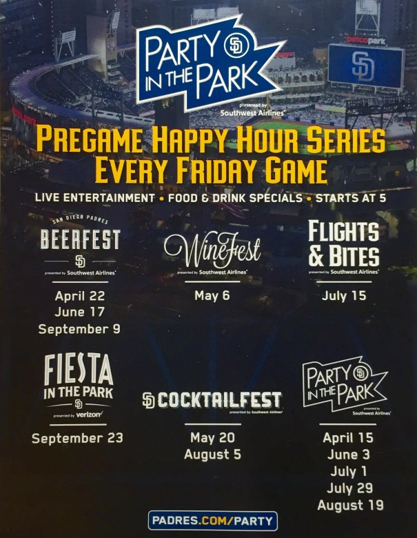 Padres Party in the Park 2016 Schedule