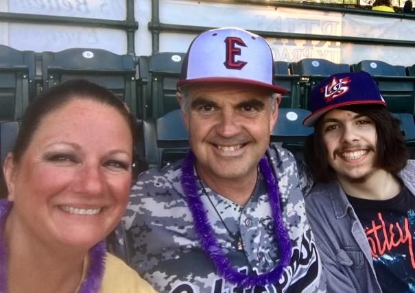 Rebecca Herman, Wayne McBrayer, Trevor Herman at Evansville Otters Game