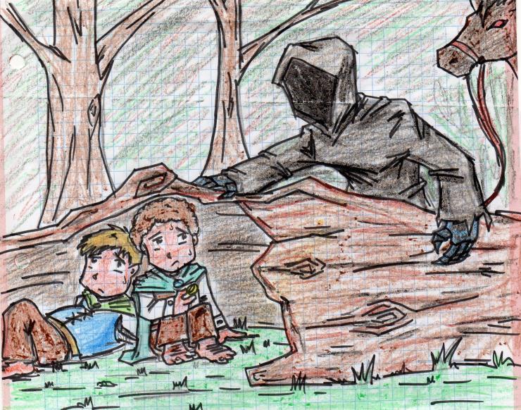 Frodo y Sam escondidos