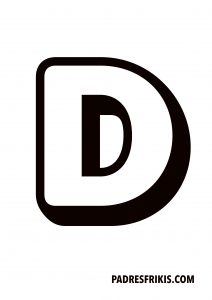 Letra D para imprimir en mayúscula