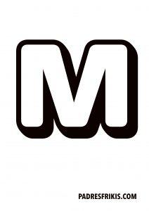 Letra M para imprimir en mayúscula