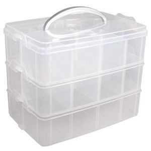Cajas transparentes con compartimentos y asa
