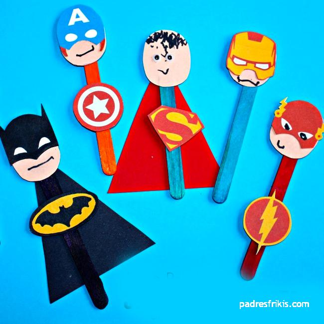 manualidad marioneta superheroes