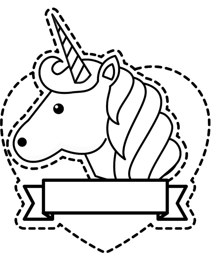 Dibujo recortable de unicornio