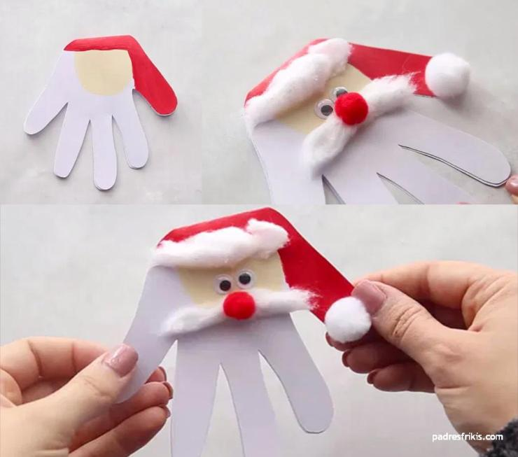 manualidad tarjeta de navidad de Papá Noel