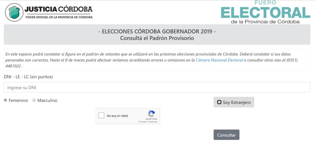 Padrón electoral de Córdoba