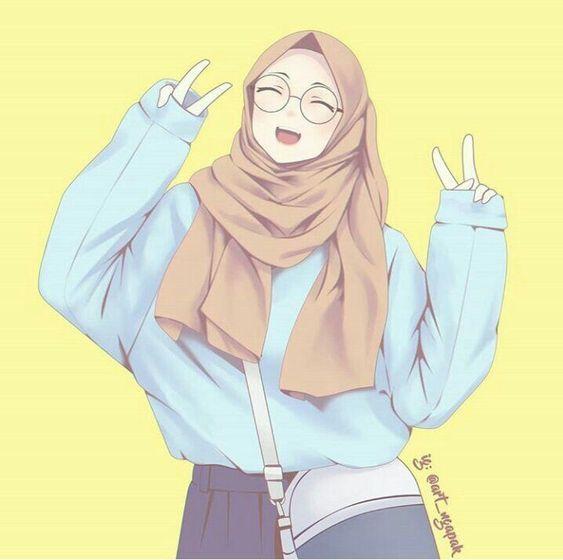 Gambar kartun muslimah berkacamata 5
