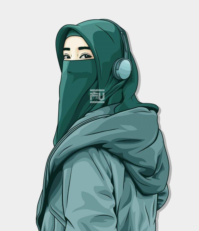 gambar kartun muslimah bercadar 1