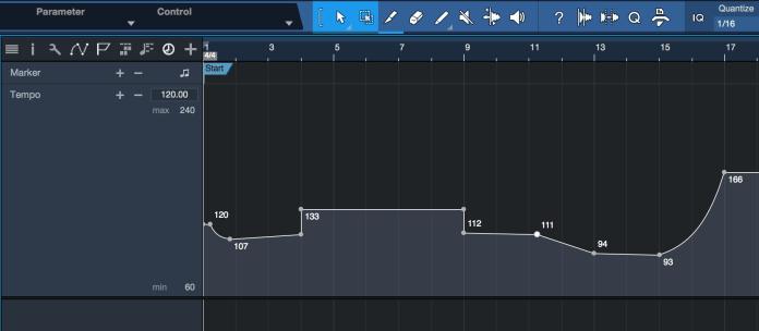 PreSonus Studio One 4.1 Tempo Track. Click for larger image.