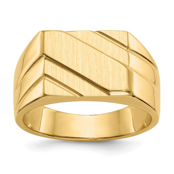 Men's 14 kt. yellow gold, signet ring with diagonal, grooved accents. This signet ring has an open back and has a satin and polished finish. This ring is engravable.