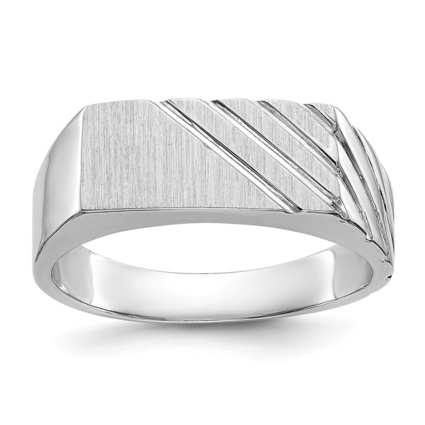Men's 14 kt. white gold signet ring that measures 8 mm X 13.5 mm. This signet ring is accented by diagonal grooves and a polished finish. This signet ring is engravable.