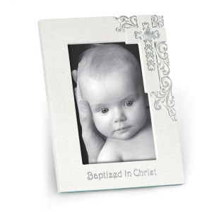 Silver scroll, resin, Baptism photo frame that measures 6 inches x 8 inches. It has a easel stand on the back and holds one 4 X 6 inch photo.