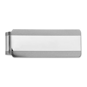 14 kt. white gold, 51 mm X 20 mm, rectangular money clip accented with horizontal stripes on the top and bottom and a rhodium polished finish