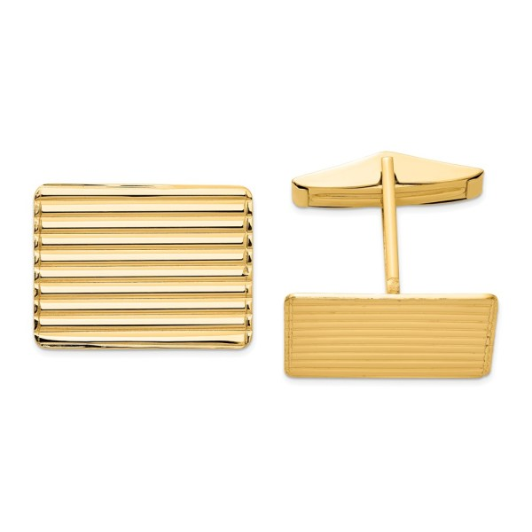 14 kt. yellow gold, 15 mm X 19.5 mm rectangular shaped, grooved, cuff links with a polish finish.