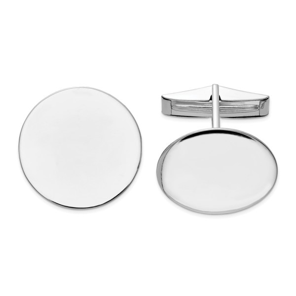14 kt. white gold, rhodium plated, 20 mm round cuff links with a polish finish.