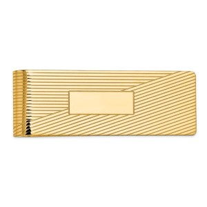 14 kt. 54 mm X 20 mm, rectangular, money clip, accented by two, opposite, striped triangles with a polished finish.