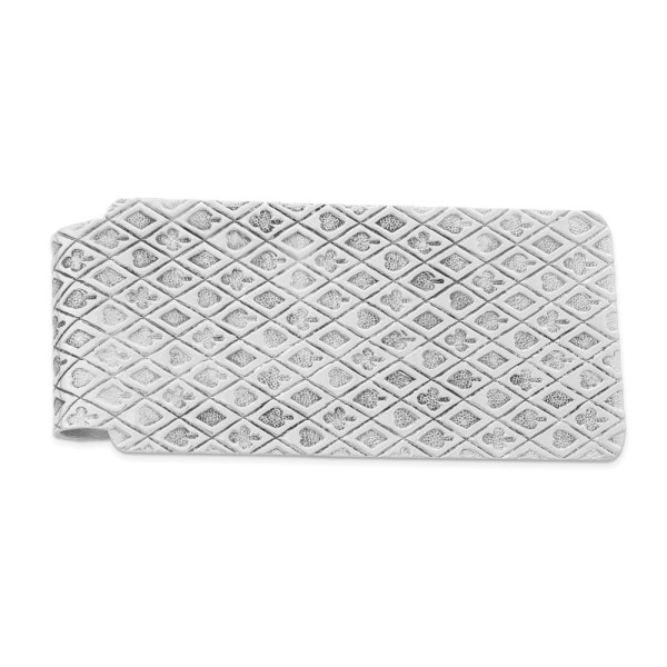 Sterling Silver, 53 mm X 25 mm, rectangular, rhodium-plated, money clip with a textured, playing card suits design and a polished finish.