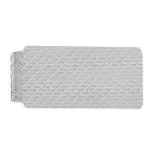 Sterling Silver, 52 mm X 25 mm, rectangular, rhodium-plated, money clip with a vertically textured design and a polished finish.