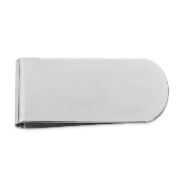 Sterling Silver, 45 mm X 22 mm, rectangular, rhodium-plated money clip with a polished finish and a flat back.