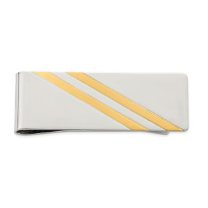 Sterling Silver, 50 mm X 20 mm, rectangular money clip with two diagonal vermeil accents and a polished finish.