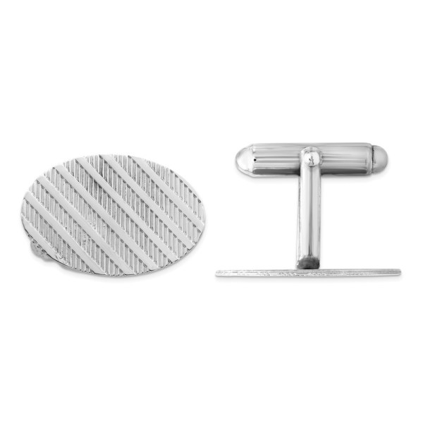 Sterling Silver, rhodium plated, 8mm round, with a vertical line design, cuff links with a polish finish.