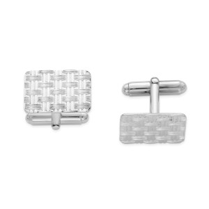 Sterling Silver, rhodium plated, 20 mm X 15 mm rectangular cuff links with a basket weave design and a polish finish.