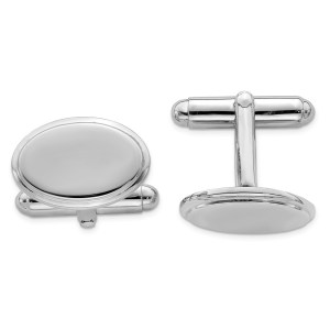 Sterling Silver, rhodium plated, 18 mm X 12 mm framed oval, cuff links with a polish finish