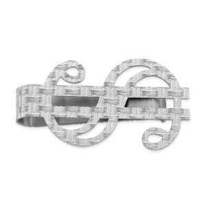 Sterling Silver, rhodium-plated, 45 mm X 25 mm, dollar sign money clip with a basket weave texture and with a polished finish.
