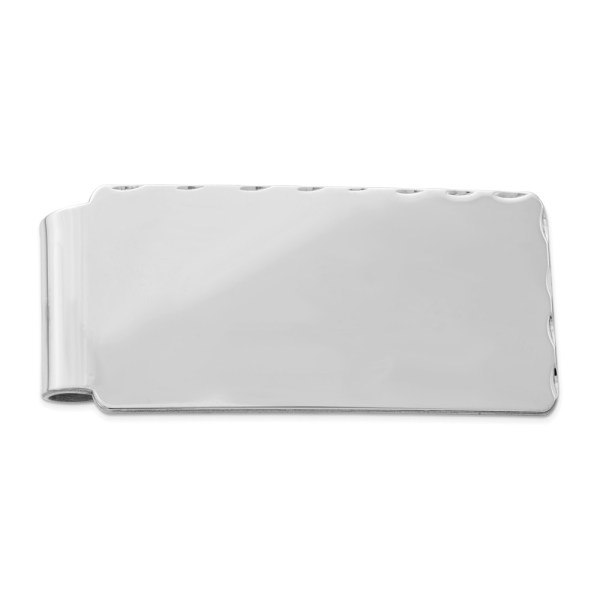 Sterling Silver, rhodium-plated, 55 mm X 26 mm, rectangular money clip, accented with a diamond cut edging and with a polished finish