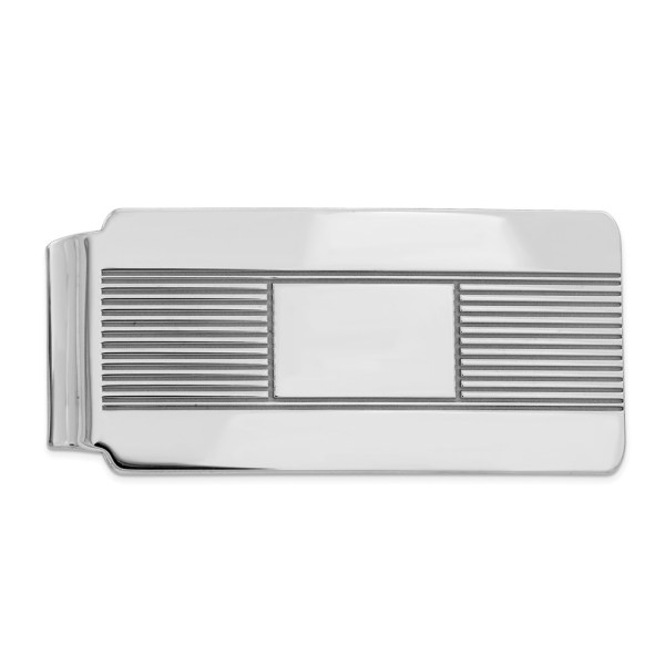 Sterling Silver, rhodium-plated, 55 mm X 26 mm, rectangular money clip, accented with horizontal stripes and a framed, centered smooth, rectangle and with a polished finish