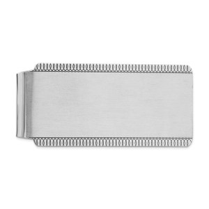 Sterling Silver, rhodium-plated, 55 mm X 27 mm, rectangular money clip, with looped accents on both the top and bottom edges and with a brushed satin and polished finish.