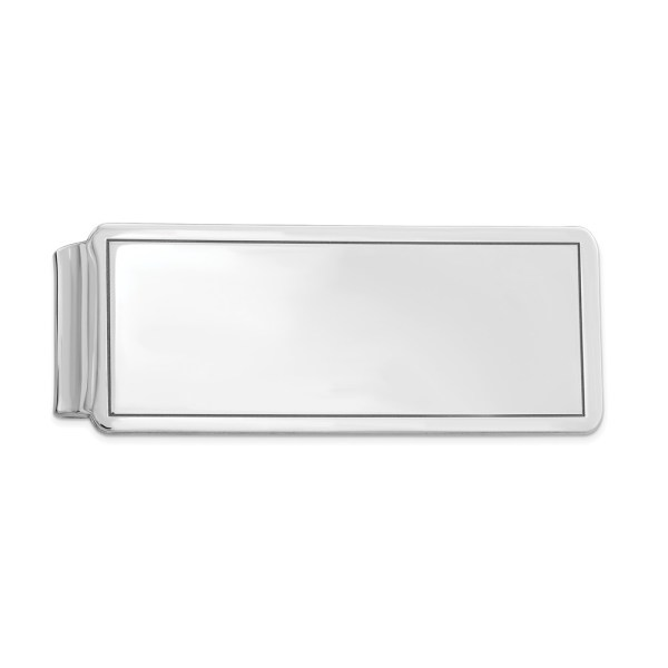 Sterling Silver, rhodium-plated, 52 mm X 20 mm, rectangular, framed, money clip with a polished finish.