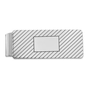 Sterling Silver, rhodium-plated, 51 mm X 19 mm, rectangular money clip, accented by diagonal stripes, and with a framed, centered box with a polished finish.