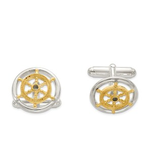 Sterling Silver Vermeil, Sailor Wheel (16 mm round) cuff links with a polish finish.