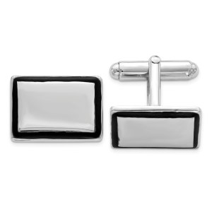 Sterling Silver, rhodium plated with black enamel framed, 19 mm X 15 mm square cuff links with a polish finish.