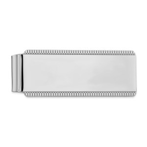 Sterling Silver, rhodium-plated, 51 mm x 20 mm, rectangular money chain with diamond cut, looped, accents on the top and bottom edges and with a brushed satin and polished finish on both the front and back.