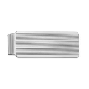 Sterling Silver, rhodium-plated, 53 mm X 20 mm, rectangular money clip, accented with three sets of horizontal stripes and with a polished finish.