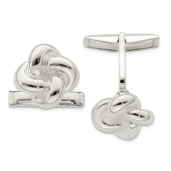 Sterling Silver, knot cuff links with a satin polish finish.