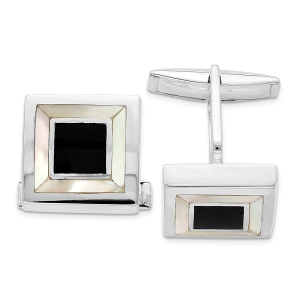 Sterling Silver, rhodium plated, square cuff links, inlayed with mother of pearl and accented with black enamel with a polish finish.
