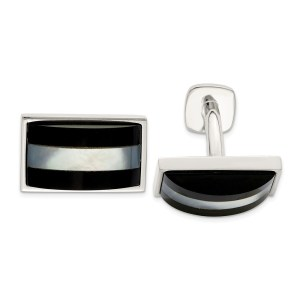 Sterling Silver, rectangular cuff links with a dome inlay of mother of pearl and black onyx with a polish finish.