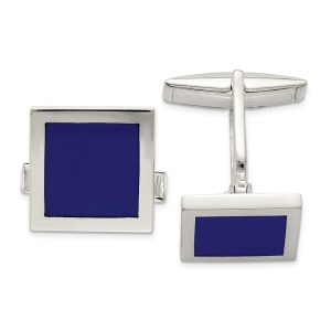 Sterling Silver, square, cuff links with an inlay of Lapis with a polish finish.