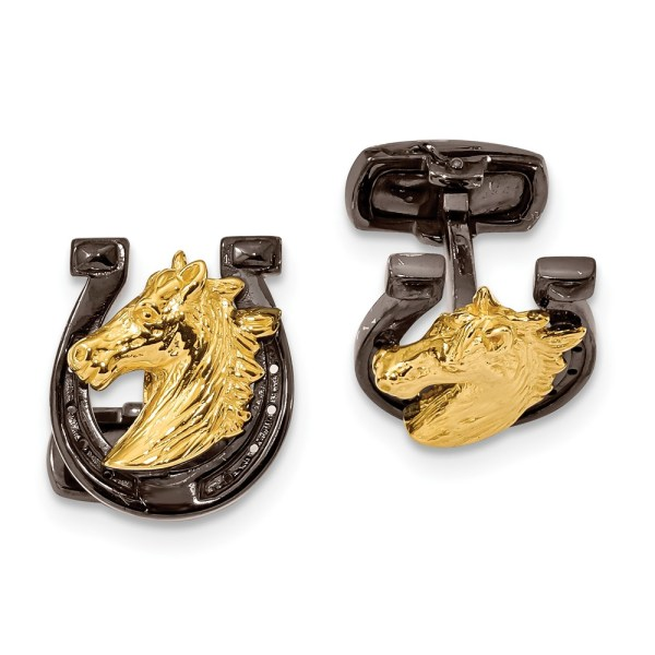 Sterling Silver, ruthenium/rhodium and 14 kt. gold plated horseshoe cuff links with a polish finish